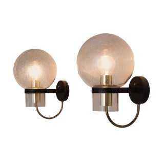 1970s Vintage Metal, Brass, and Glass Wall Sconces - a Pair