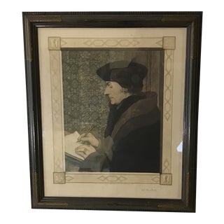 Framed Hand Colored Lithograph of Georg Gisze by W. G. Blackwell 1918 For Sale