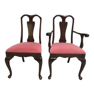 Harden Cherry Queen Anne Dining Room Side Arm Chairs - a Pair For Sale