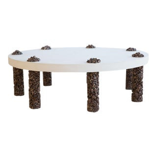 Hand Made 7 Leg Coffee Table Made of Picasso Jasper Stone and White Plaster Top