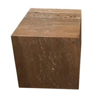 1970s Travertine Cube / Pedestal For Sale