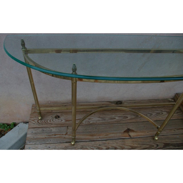 Modern La Barge Style Vintage Brass and Glass Console For Sale - Image 3 of 7