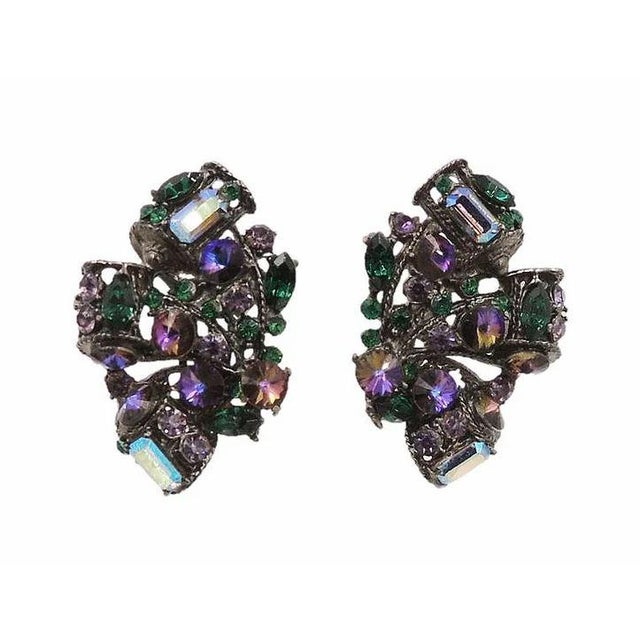 1980s Thelma Deutsch Japanned Rhinestone Earrings For Sale In Philadelphia - Image 6 of 6