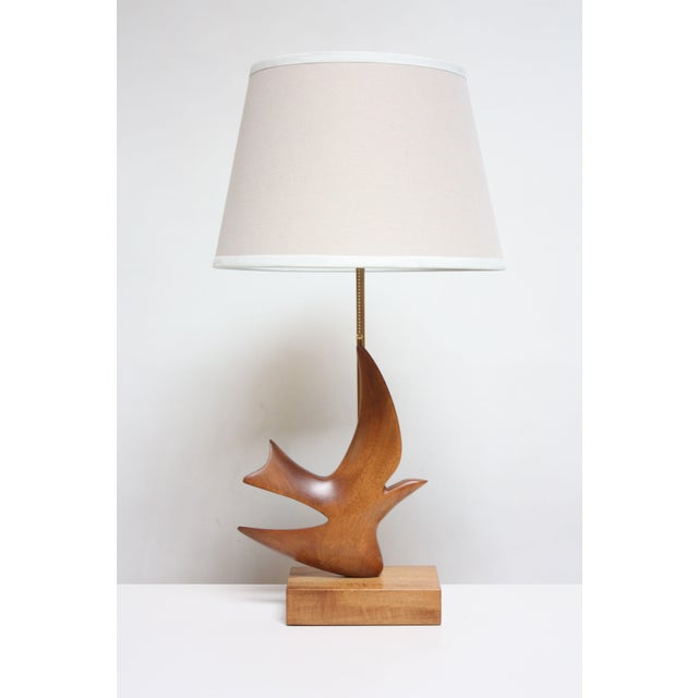 Maple and Mahogany 'Dove' Lamp by Clark Voorhees for Hansen For Sale - Image 12 of 12