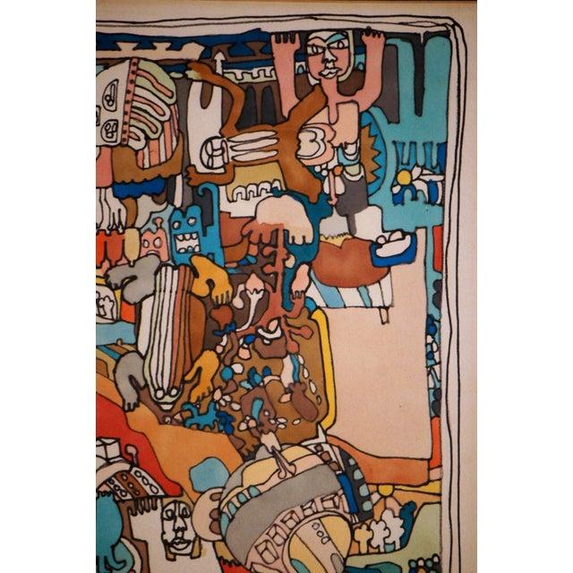 "Blue E. Price Egan ""Brueger Vision"" Framed Pen and Ink Drawing For Sale - Image 8 of 13"
