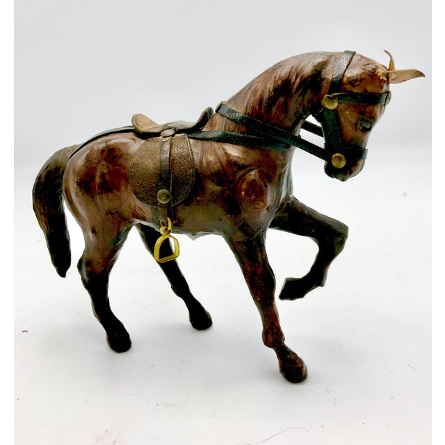 Black 1950s Leather Wrapped Horse Sculpture Figurine For Sale - Image 8 of 8