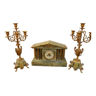 Antique Marble Mantel Clock and Candle Holder Set For Sale