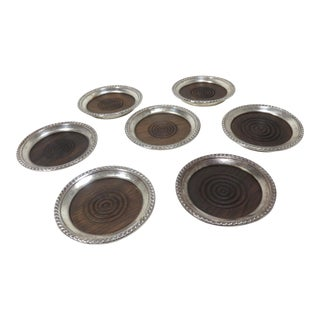 Sterling Silver & Rosewood Cocktail Coasters- Set 7 For Sale