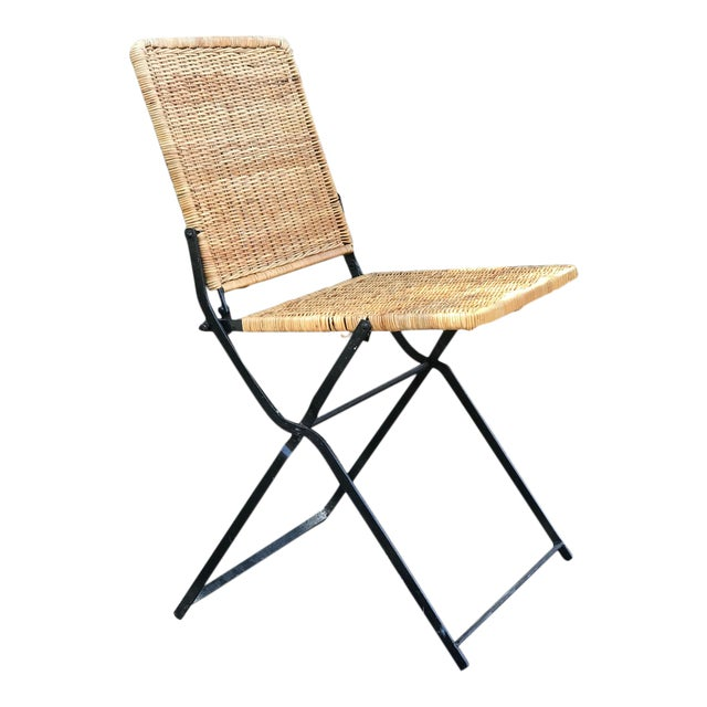 1960s Boho Chic Rattan & Wrought Iron Folding Chair For Sale
