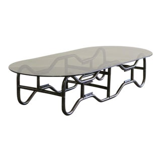 French Industrial Steel Frame and Smoked Top Coffee Table circa 1970 For Sale