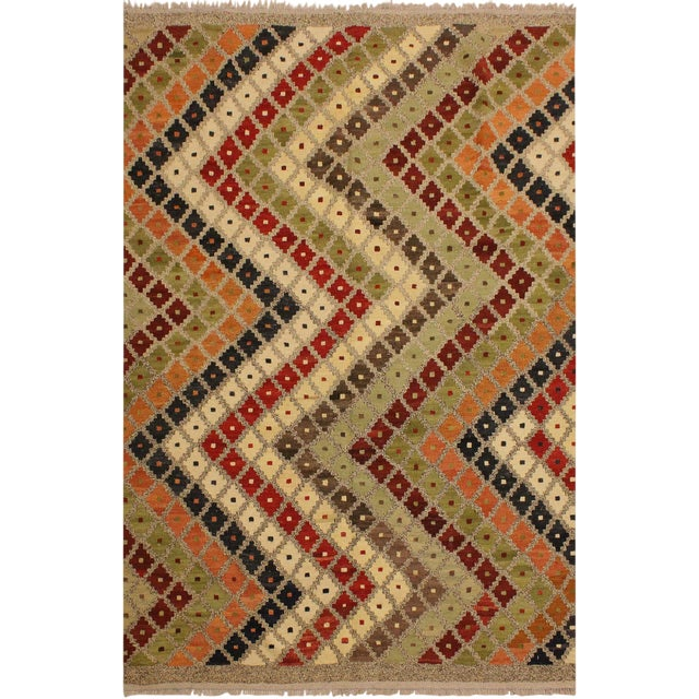 Abstract Tribal Rolanda Gray/Black Hand-Woven Kilim Wool Rug -5'3 X 6'7 For Sale
