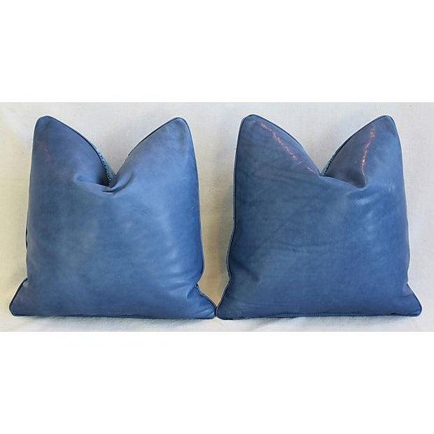 """Animal Skin Ralph Lauren Royal Blue Velvet Tapestry & Edelman Leather Pillows 20"""" Square - Pair For Sale - Image 7 of 12"""