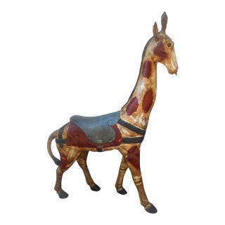 "Vintage Hand Crafted 72"" Tall Carousel Giraffe For Sale"