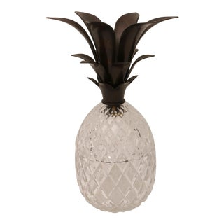 Pineapple Shaped Bronze & Crystal Ice Bucket For Sale