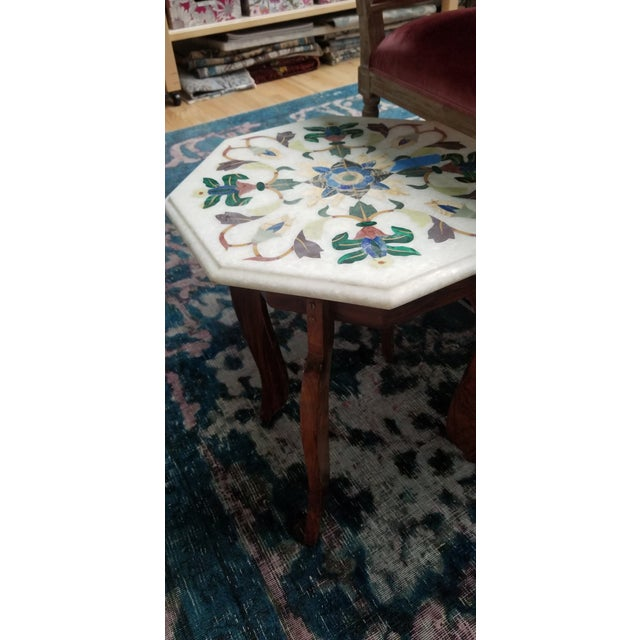 Mosaic Vintage Hardstone Inlaid Marble Top Octagonal Side Table For Sale - Image 7 of 12