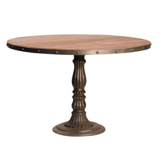 Indian Teak & Iron Round Pedestal Dinette Table