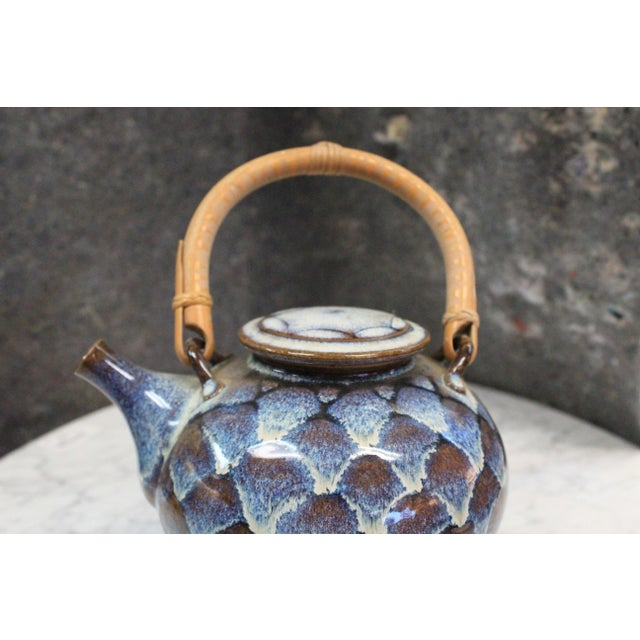 Mid 20th Century Ceramic Teapot with Wooden Handle For Sale - Image 5 of 8