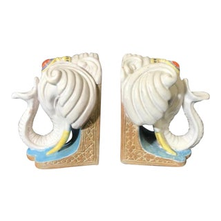 Elephant Bookends Ceramic, Pair For Sale