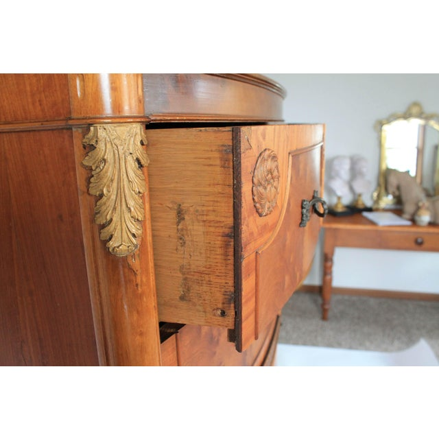 Brown Louis XV Burlwood Bow Front Tall Dresser For Sale - Image 8 of 13