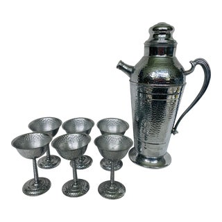Early 20th Century Art Deco Hammered Chrome Cocktail Shaker and Stemware - 7 Piece Set For Sale