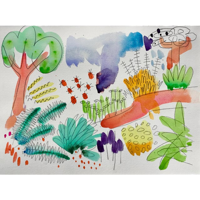 """2010s English Garden, Set of Four Original Watercolor Paintings 11x15"""" Each For Sale - Image 5 of 6"""