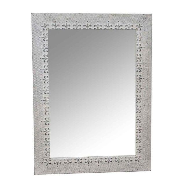 2010s Antique White Tin Mirror With Fleur De Lis Border For Sale - Image 5 of 5