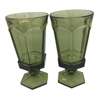 Mid-Century Libby Avocado Tall Glasses - Set of 2 For Sale