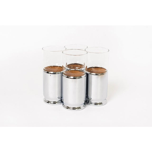 1960s Mid Century Highball Cocktail Glasses With Silver Cork Liners For Sale - Image 5 of 11