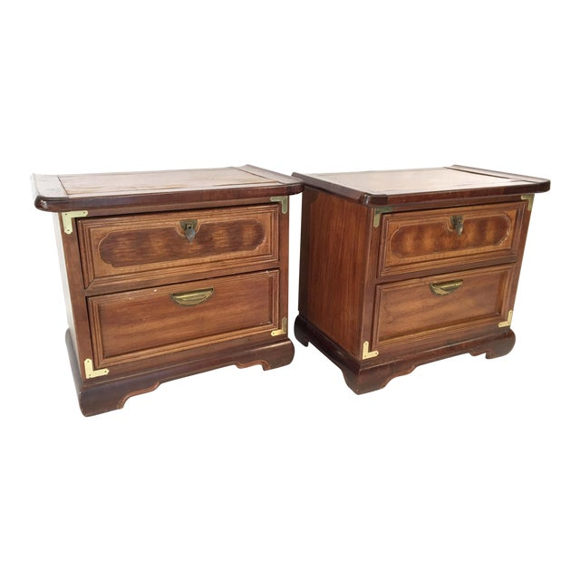 Solid Wood Asian Ming Campaign Nightstands - A Pair For Sale