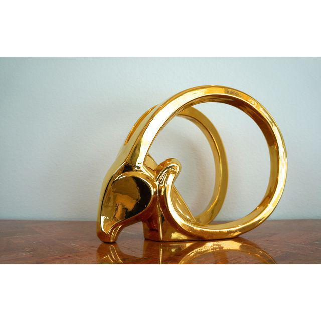 Gold Ibex Rams Head Statue by Jaru For Sale - Image 5 of 8