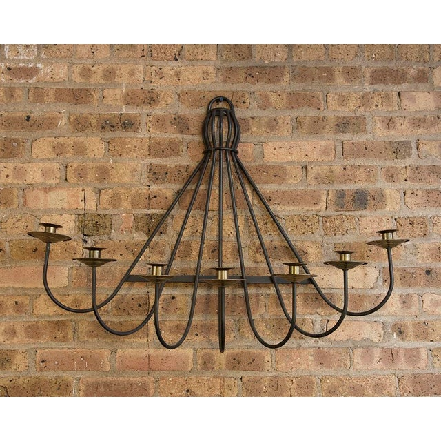 Mid-Century Modern Mid Century Iron and Brass Wall Sconce For Sale - Image 3 of 5