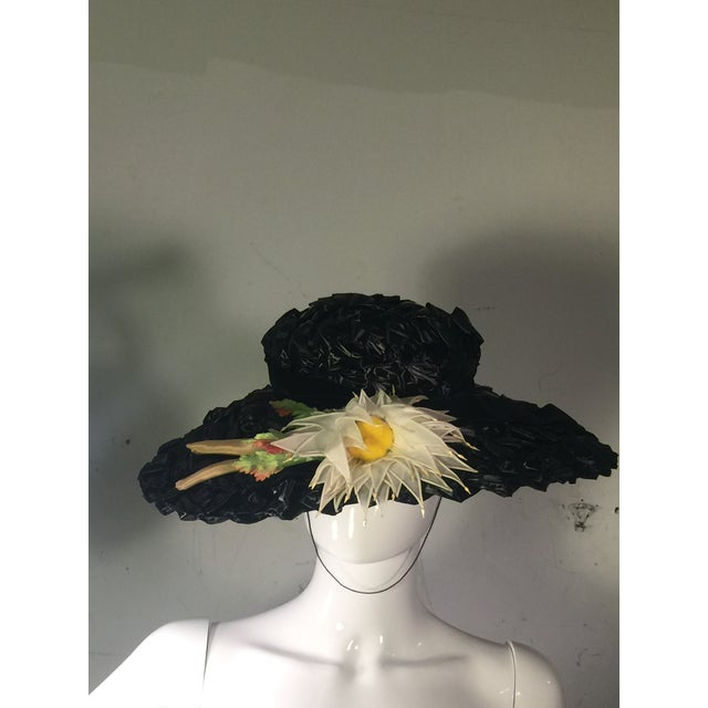 1940's Vintage Great Black Ribbon Hat With Amazing Silk Flower For Sale - Image 13 of 13