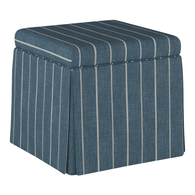 Textile Fritz Indigo Skirted Storage Ottoman For Sale - Image 7 of 7