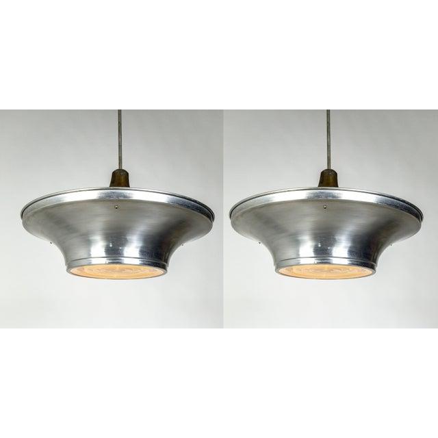 Art Deco Aluminum Dish Pendants W/ Unique Glass Diffusers (2 Pairs Available) For Sale - Image 13 of 13