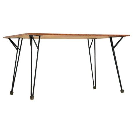 Alfred Hendrickx rare desk or dining table in root wood veneer, Belgium, 1950s For Sale