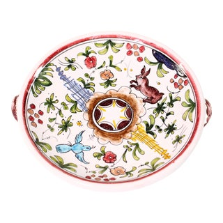 Mid-Century Hand Painted Majolica Animalia Motif Catchall Bowl For Sale