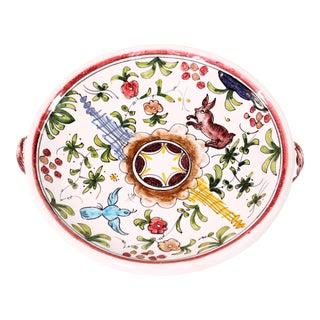 Mid-Century Hand Painted Majolica Animalia Motif Catchall Bowl For Sale