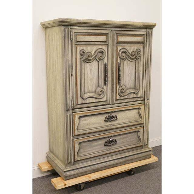 """Gustavian (Swedish) Stanley Furniture Italian Provincial Green Tint Finish 43"""" Door Chest / Armoire For Sale - Image 3 of 13"""