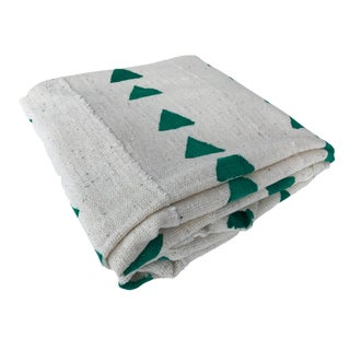 African White/Green Mud Cloth Textile Mali