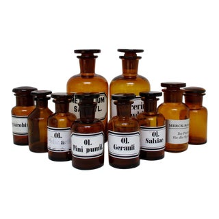Amber Apothecary Bottles - Set of 10 For Sale