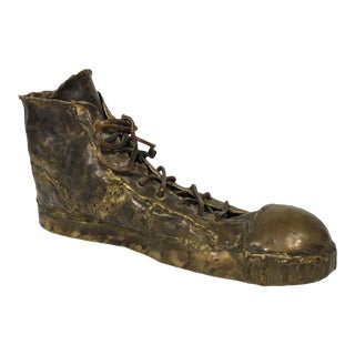 Vintage 1970s Bronze Converse Sneaker Sculpture For Sale
