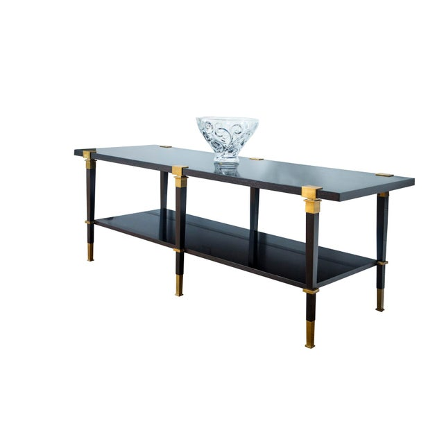 Brass Andre Arbus 'Avenue' Ebonized Walnut Cocktail Table For Sale - Image 7 of 11