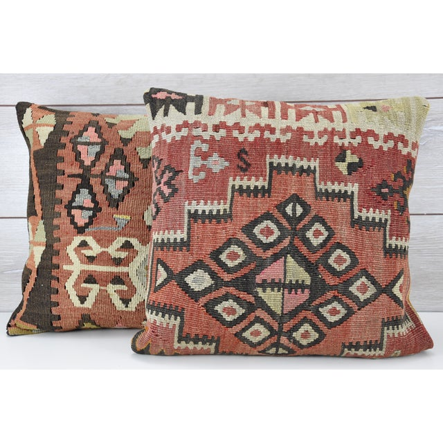 Vintage Turkish Handwoven Kilim Pillows - Pair - Image 2 of 5