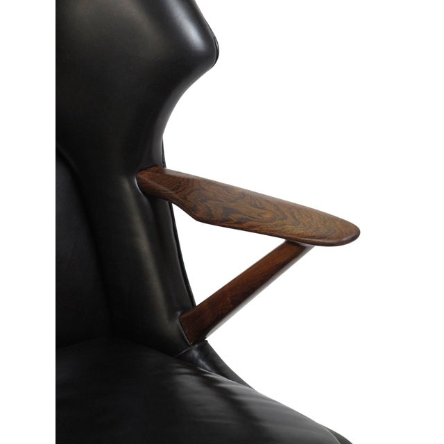 Black Kurt Olsen Danish Rosewood Black Leather Bear Chair For Sale - Image 8 of 11