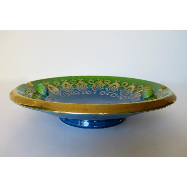 Ceramic Vintage Mid-Century Aldo Londi for Bitossi Blue Ashtray, or Catchall Dish For Sale - Image 7 of 13