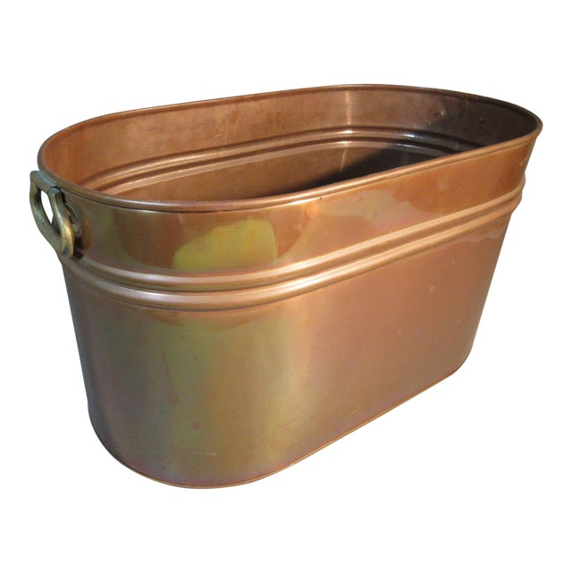 Vintage Copper Lined Copper Boiler Wash Tub For Sale