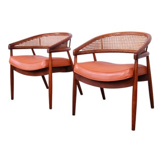 James Mont Style Mid-Century Bent Beech and Cane Club Chairs For Sale