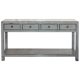 Asian Modern Gray Console Table For Sale
