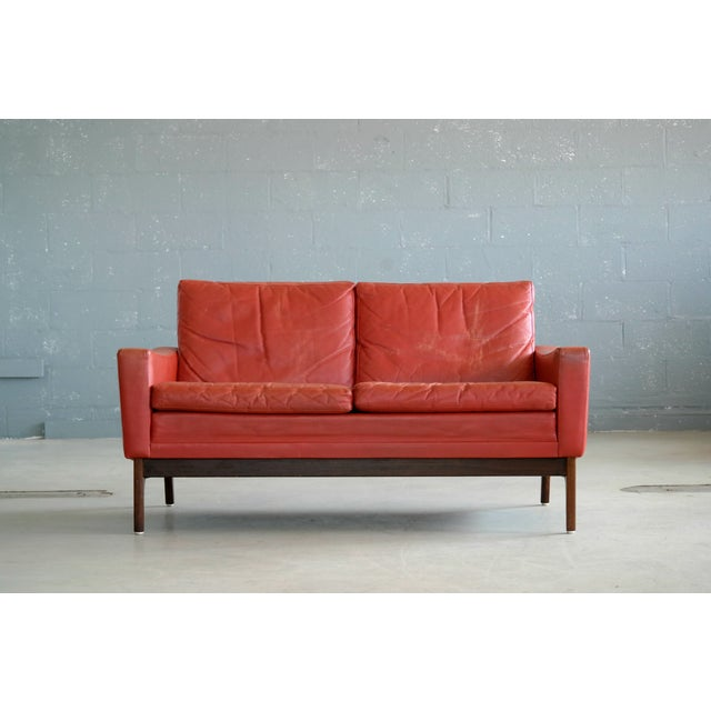 Mid-Century Modern Classic Danish Mid-Century Modern Sofa in Red Leather and Rosewood Base For Sale - Image 3 of 11