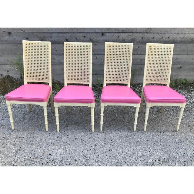 Hickory Faux Bamboo and Cane Pink Side/Dining Chairs - Set of 4 For Sale - Image 11 of 11